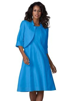 Roamans Women's Plus Size Full Bottom Fit And Flare Jacket Dress Iris ** Trust me, this is great! Click the image. : Trendy plus size clothing Affordable Plus Size Clothing, Plus Size Womens Clothing, Plus Size Fashion, Tall Clothing, Clothing Apparel, Fit And Flare, Plus Size Dresses, Plus Size Outfits, Suits For Women
