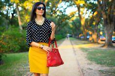 polka dots & yellow pencil skirt