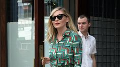 The actress proved that matching ladylike separates can make a serious statement.
