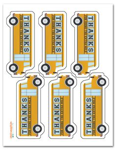Free Printable School Bus Driver Thank You Tags
