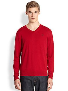 Fred+Perry Classic+Tipped+V-Neck+Sweater