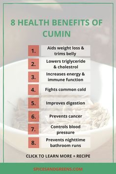 Cumin spice benefits for weight loss and other uses plus recipes.