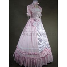 Lovley Long Sleeves Ribbon Bowknot Ruffles Pink Gothic Victorian Dress Cheap Fancy Dress Outfits