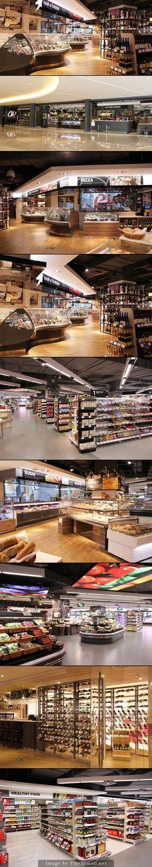 ole' supermarket oct bay, shenzhen - created on Supermarket Design, Retail Store Design, Retail Shop, Food Court Design, Store Plan, Store Layout, Retail Interior, Merchandising Displays, Cafe Restaurant