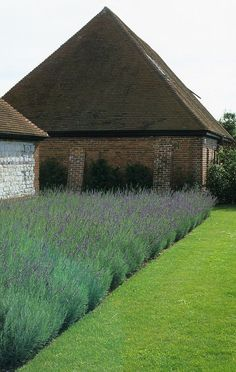 Contemporary Country Garden Design for a converted barn on the Hampshire and Sussex border with a clunch wall and lavender bed by Sussex Garden Designers Acres Wild Contemporary Garden Design, Contemporary Landscape, Contemporary Sculpture, Landscape Plans, Landscape Design, Lavender Bedding, Lavender Garden, Lavender Fields, Traditional Landscape