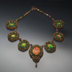 Glowing Copper and Green Bead Embroidery Necklace by MillHillArts