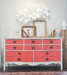 coral and white duncan phyfe vintage dresser