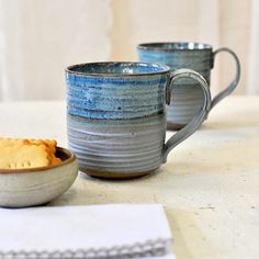 Large ceramic mug BLUE MUGS Big ceramic cups Pottery mugs