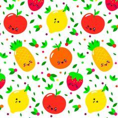kawaii fruits fabric by stofftoy on Spoonflower - custom fabric