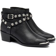 Senso Senso Xyler I Black Grained Calf Silver Cowboy Studded Ankle... (410 BRL) ❤ liked on Polyvore featuring shoes, boots, ankle booties, bota, black bootie, black pointed toe booties, ankle boots, cowboy boots and black ankle booties