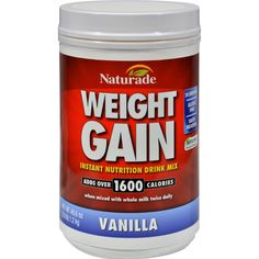 Naturade Weight Gain Vanilla Description: - Amplify Caloric Intake - 21 grams of Carbs, 9 grams of Protein - Enhanced Calorie Absorption Formula - Stimulant Free - Gain More and Save Maximize your cal