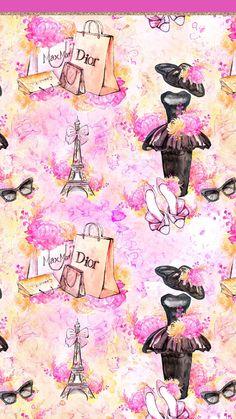 Paris Wallpaper, Laptop Wallpaper, Pink Wallpaper, Pretty Wallpapers, Phone Wallpapers, Hello Kitty Wallpaper, Shoe Art, Pattern Paper, Planner Stickers