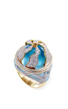 Small Blue Topaz Pangea Ring by Kara Ross for Preorder on Moda Operandi