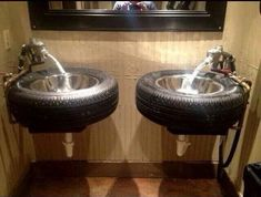 Tire sinks...would be awesome for a garage bathroom!