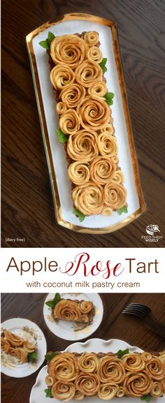 Delicious baked apple roses served on top of silky coconut cream and an almond whole wheat pastry tart.  #appletart #healthy #applerose #applepie #holidaybaking #holidaytreats #holidayrecipes #dairyfree #coconutmilk