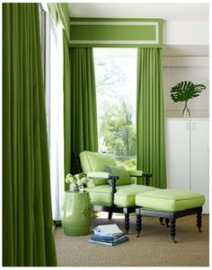 A green spool chair in the bedroom; a hot burst of tropical color evokes a vacation mood in the master suite. Curtains are Pindler & Pindler's Maybrook in Kiwi, with French grosgrain trim from Samuel & Sons. The spool chair and ottoman are from Hickory Chair.  Photo by Ngoc Minh Ngo.