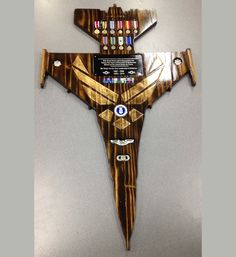 Made-from-scratch solid pine, high detailed Air Force retirement plaque.