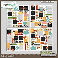 Designer Spotlight & Daily Download 11/9/16 - Gotta Pixel Digital Scrapbooking Store :: Simply Cute Template Pack by Pixelily Designs