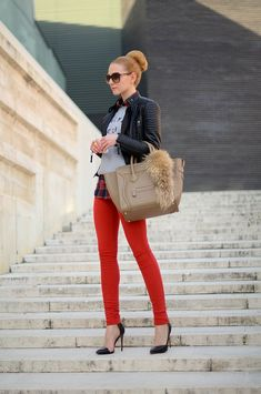 red plaid shirt leather shoulder - Google Search