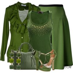 Christmas in Monochrome GREEN, It's a little to much green, but I love each individual piece. Classy Outfits, Chic Outfits, Fashion Outfits, Womens Fashion, Lawyer Outfit, Dressy Skirts, Complete Outfits, Style Me, Clothes