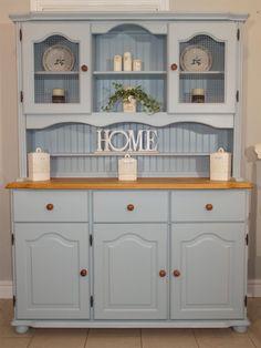 Blue Farmhouse / Welsh Dresser www.chicmouldings.com #shabbychicdressersblue #shabbychicdressersideas