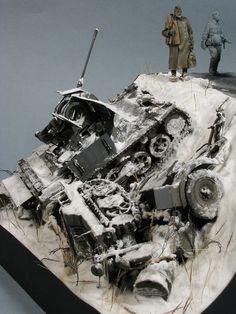 "Stalingrad Shadows"" scale diorama by Vladimir Demchenko Diorama Militar, Shadow 1, Model Tanks, Military Modelling, Military Diorama, Toy Soldiers, Star Wars Art, Resin Art, Scale Models"