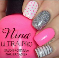Dots, strips, and grey nails.: