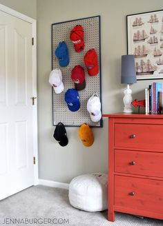Baseball Cap Pegboard Teenage Boy Room.  This IS happening in more than one room!