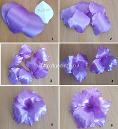 Ribbon Art, Diy Ribbon, Ribbon Crafts, Flower Crafts, Ribbon Flower Tutorial, Rose Tutorial, Fabric Flowers, Paper Flowers, Tropical Flower Arrangements