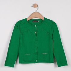 5292644092ab Catimini Knitted Cardigan With Crochet Design  MID GREEN