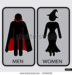 Halloween Restroom Signs Illustration, Vector