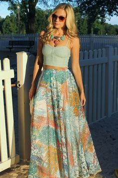 corset tops and maxi skirts