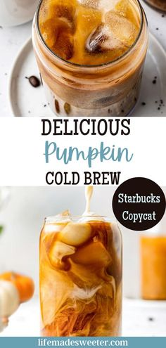 Try this Pumpkin Cold Brew for an afternoon pick-me-up or for a jolt of morning energy. An easy and delicious copycat Starbucks drink that is both healthier and affordable. All you need to do: Make your favorite cold brew coffee, add pumpkin puree for a rich fall flavor, then pump in some spices with any plant-based milk instead of dairy or soy!