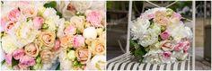 Pastel flowers pink, orange and white wedding bouquet