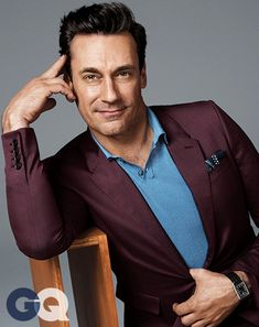 Jon Hamm. Polo shirt by Dolce & Gabbana. Suit by Burberry Prorsum.