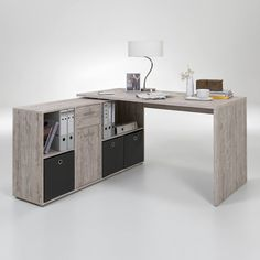 Symple Stuff This desk combination consisting of a desk and cabinet is the perfect addition to your office. It was made in Germany and offers a lot of storage space. Office Suite, Office Desk, Pc Table, Room Of One's Own, L Shaped Desk, Secretary Desks, White Paneling, Home Office Design, Storage Cabinets