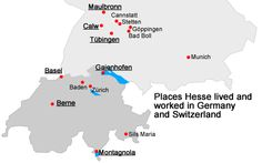 PLaces Hermann Hesse lived & Worked in Germany & Switzerland
