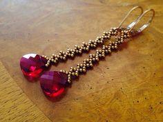 Long red crystal earrings, long red earrings, red dangle earrings, red Statement jewelry, marsala bridesmaid, minimalist long earrings, EBW