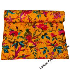Indian Kantha Quilt Bird Printed Kantha Blanket Cotton Kantha Bedspread Handmade Kantha Coverlet Throw Queen & Twin Size Kantha Bedcover Bohemian Quilt, Bohemian Bedspread, Hippie Bohemian, Floral Bedspread, Floral Quilts, Indian Quilt, Indian Blankets, Quilted Throw Blanket, Quilt Baby