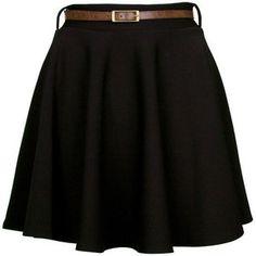 Black Belted Skater Skirt