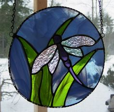 Stained glass panel  dragonfly large sun by AcornArtsStudio, $50.00
