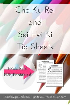 Cho Ku Rei and Sei Hei Ki Tip Sheets. Reiki Symbol Reiki Printables CKR SHK