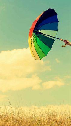 Colorful Umbrella Field Clouds #iPhone #6 #plus #wallpaper
