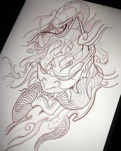 Full sleeve #irezumicollective #chronicink #hannya #snake #vancouvertattoos #torontotattoos