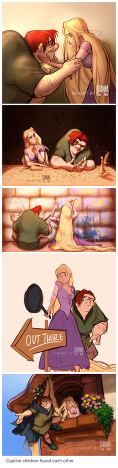 Disney pixar - Quasimodo and Rapunzel The Hunchback of Notre Dame and Tangled crossover Awww, so cute! They would totally be friends! Disney Pixar, Disney Marvel, Disney Animation, Arte Disney, Disney Memes, Disney Fan Art, Disney And Dreamworks, Disney Cartoons, Disney Magic