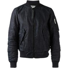 G-Star Raw Research denim bomber jacket ($411) ❤ liked on Polyvore featuring men's fashion, men's clothing, men's outerwear, men's jackets, blue, mens blue jacket, mens denim jacket and mens blue bomber jacket
