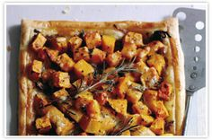 Butternut squash and caramelised onion tart