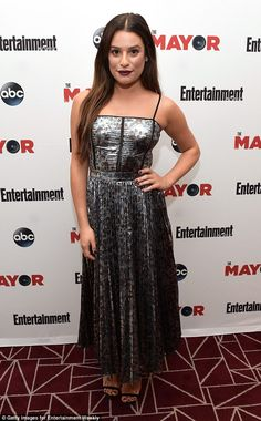 Special screening: Lea Michele rocked a silver maxi dress for a showing of her ABC series The Mayor in West Hollywood, California on Wednesday