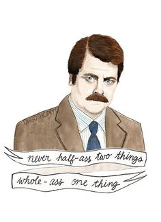 Ron Swanson watercolour portrait PRINT Parks and by ohgoshCindy, €10.00