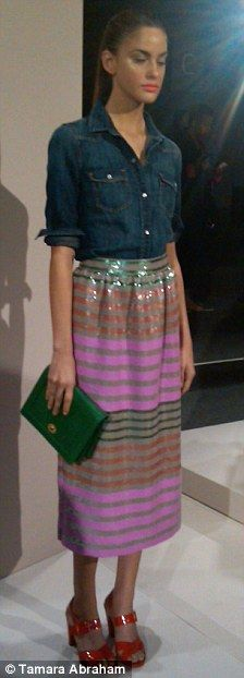 @J.Crew style w/ f21 denim shirt and purple leather banded long skirt?